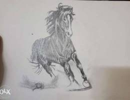 antique as a drawing of a horse