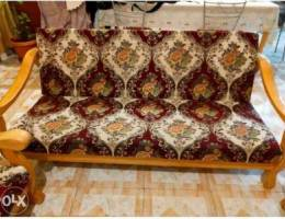 Strong wooden Sofa set with 2 side Tables!